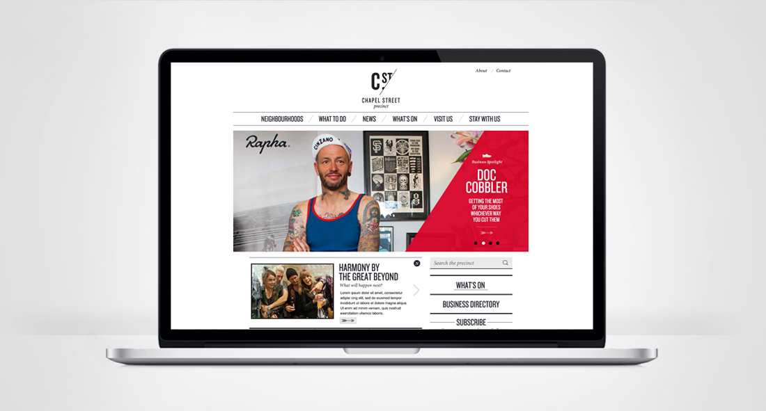 Screenshot of the homepage of Chapel Street Precinct Website, displayed on a cool laptop