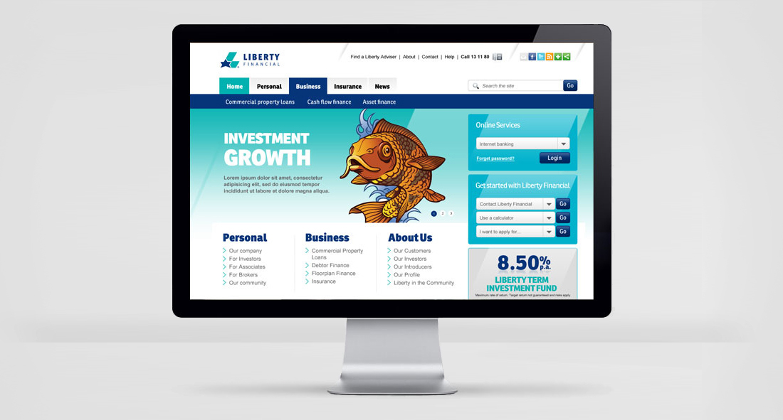 Screenshot of the homepage of the Liberty Financial website, displayed on a cool monitor